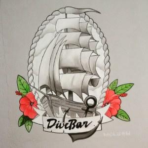 DiveBar-Logo - Segelschiff und Hibiskus - im klassischen, traditionellen Seemann- und Tattoo-Style