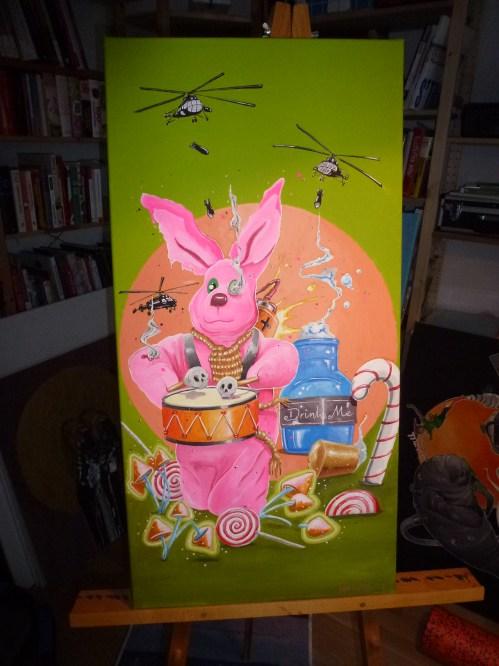 """Duracell in Wonderland"" | Acryl auf Leinwand | 80 x 40 cm | 2018"