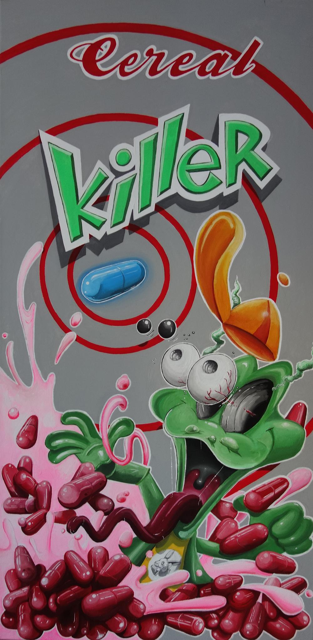"""Cereal Killer"" | Durchgeknallter Kellog´s Smacks Frosch zum Frühstück. Farbenfroher Wahnsinn auf Leinwand vom Künstler Molusk"