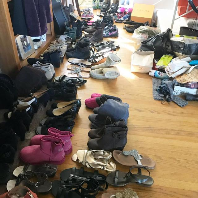 Um yeah time to clean out the shoe closet declutterhellip
