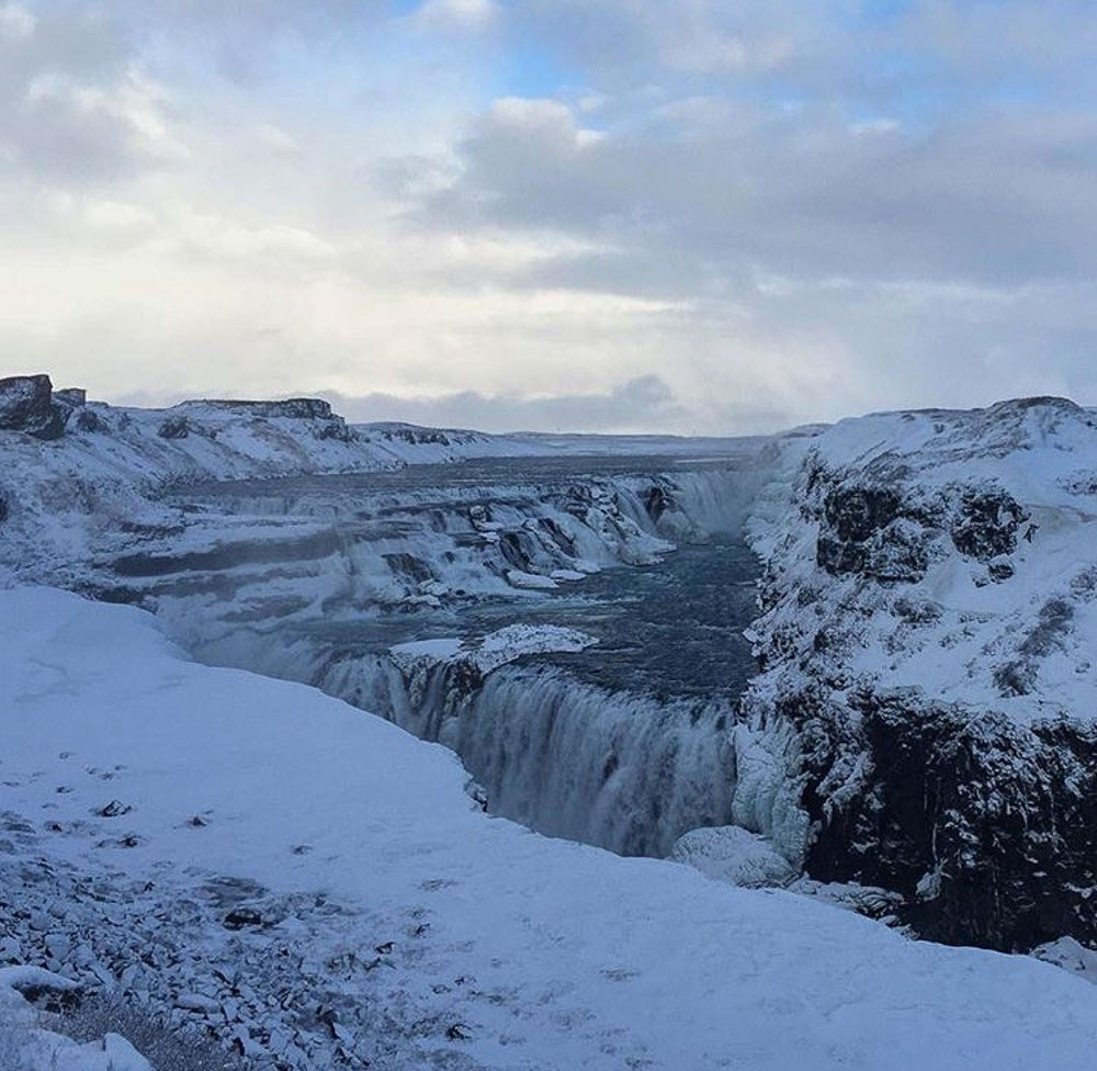 Gulfoss waterfall in winter