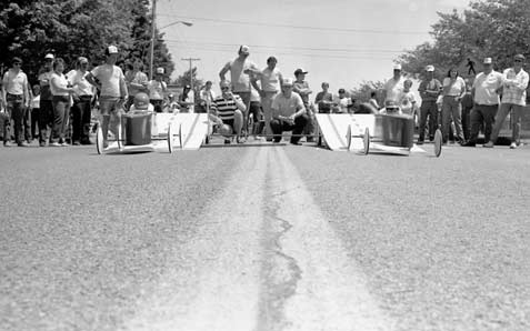 Drivers from the 1985 Jamestown Area Soap Box Derby prepare to head down the hill on Baker Street at Bergman Park. Photo Courtesy of The Post-Journal