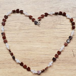 Mahogany Obsidian and Rose Quartz Heart Necklace
