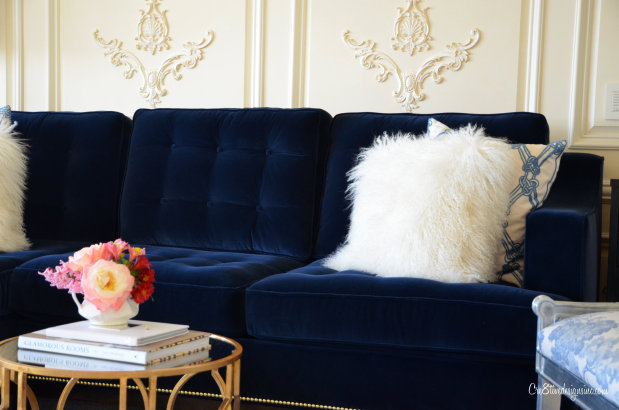 Navy Blue Tufted Sofa Cre8tive Designs Inc