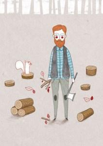 Ilustración leñador