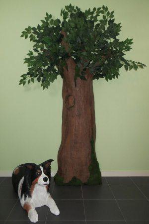 árbol y perro de porexpan