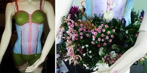 maniquí pintado y tutú de flores