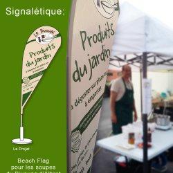 signalétique et packaging: Beach flag du Bivouac d'Albret