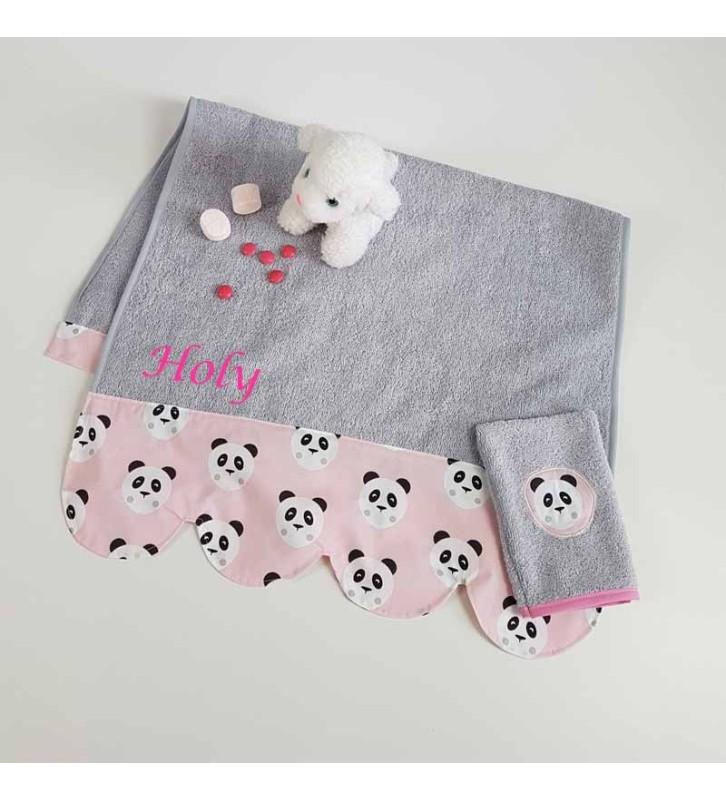 serviette de toilette fille personnalisee panda rose