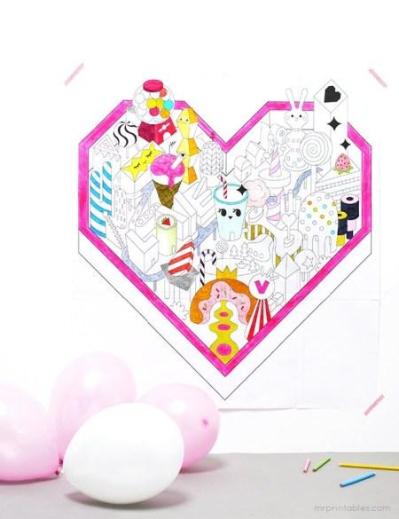diy coloriage géant cœur à imprimer gratuitement