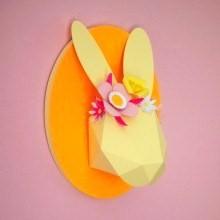 diy trophée tête de lapin 3D en papier