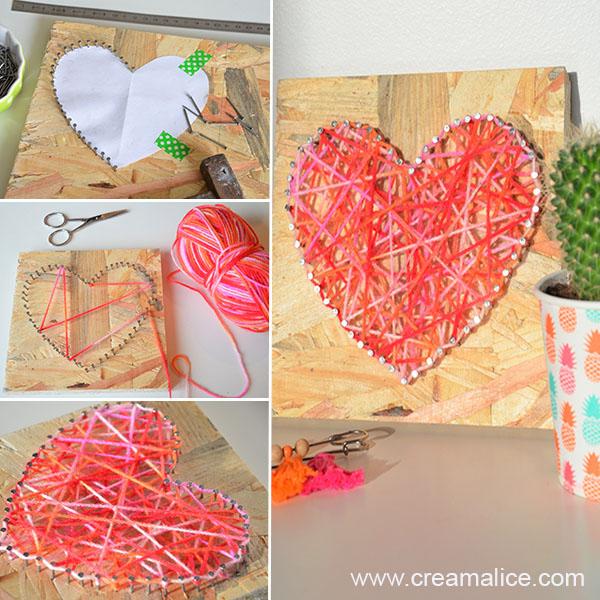 diy tableau d co c ur string art pour la saint valentin. Black Bedroom Furniture Sets. Home Design Ideas
