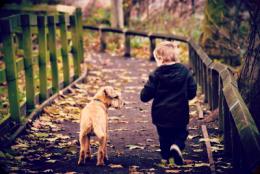 niño ocn perro