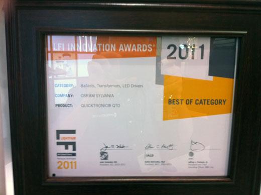 OSRAM SYLVANIA at LIGHTFAIR 2011 - Joe McCormick, won a Lightfair International Innovation award