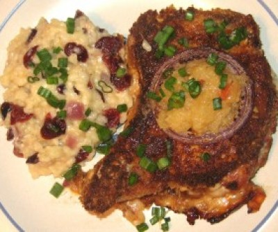 Coconut Macadamia Crusted Pork Chops with Risotto