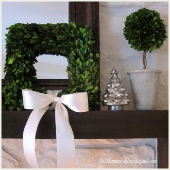 This Is Happiness - Boxwood Christmas Mantle