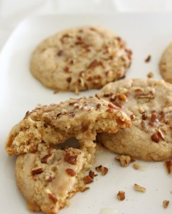 Glazed Butter Pecan Toffee Cookies