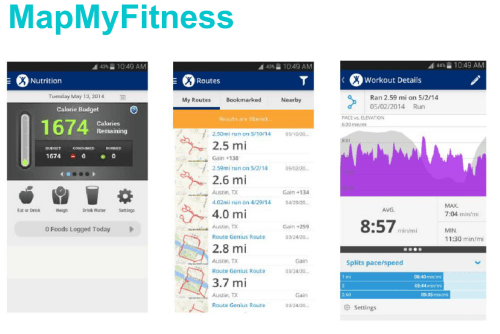 Map My Fitness Screens