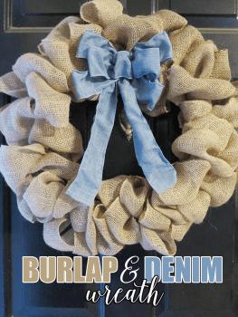 Burlap And Denim Wreath