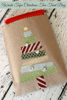 Washi Tape Christmas Tree Treat Bag