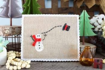 Burlap Snowman Art