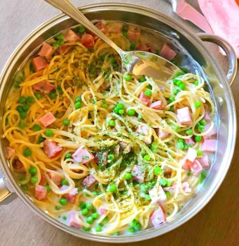 Parmesan Ham & Pea Spaghetti