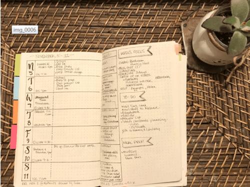 Menu Planning Bullet Journal