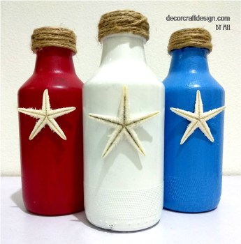 Patriotic Bottles With A Coastal Touch