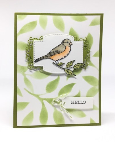 Stenciled Leaves Card