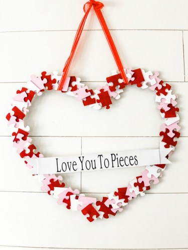 Heart-Shaped Puzzle Piece Wreath