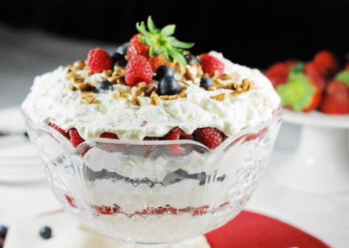 Triple Berry Punch Bowl Cake