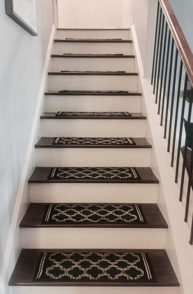 Diy Stair Treads An Easy Way To Get Anti Slip Stairs   Non Slip Stair Runners   Mat   Beige   Wooden Steps   Treads Carpet   Bullnose Carpet