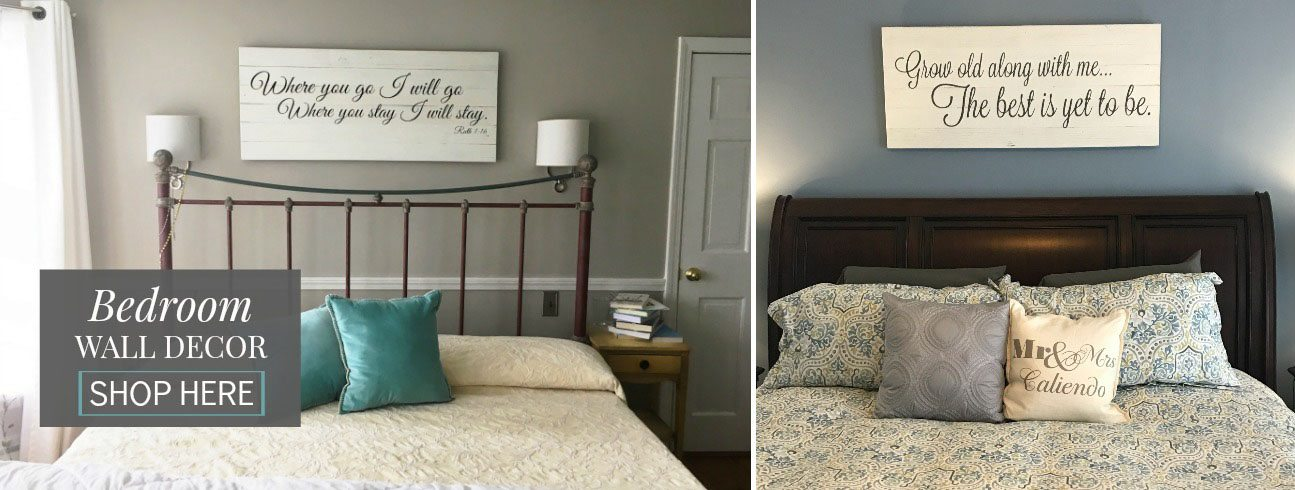 Bedroom Wall Art | Reclaimed Wood Signs | Slider