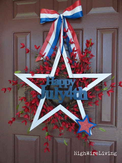 Make these 10 gorgeous yet easy patriotic wreaths that will brighten up your home, perfect for Memorial Day, 4th of July, and other patriotic holidays. - stars and fireworks