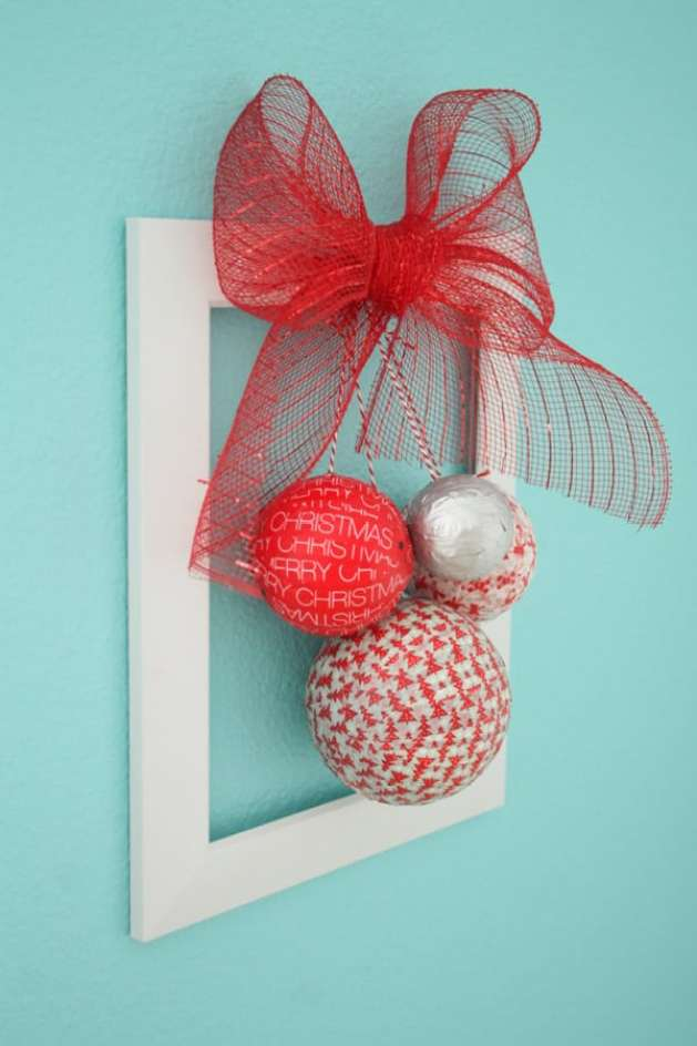 You can whip this Styrofoam Washi Tape Ornament Wreath in less than 10 minutes!! Check out the tutorial at createcraftlove.com! #christmas #washitape #25daysofchristmas #styrofoam #wreath