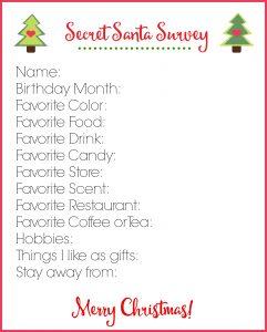 Secret Santa Survey Printable