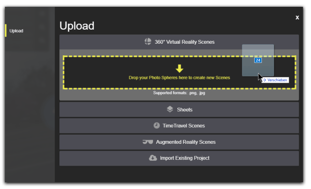 Drag and drop image files to upload