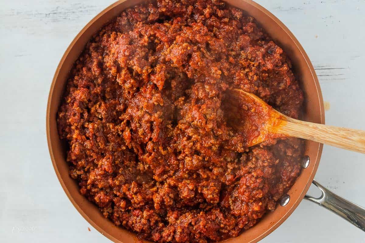 browned meat sauce in pan
