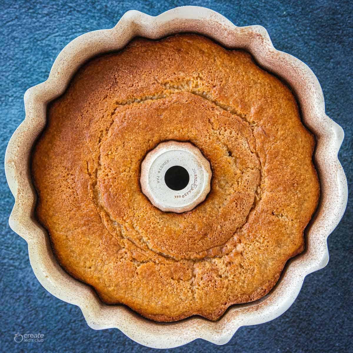 cake baked in Bundt pan