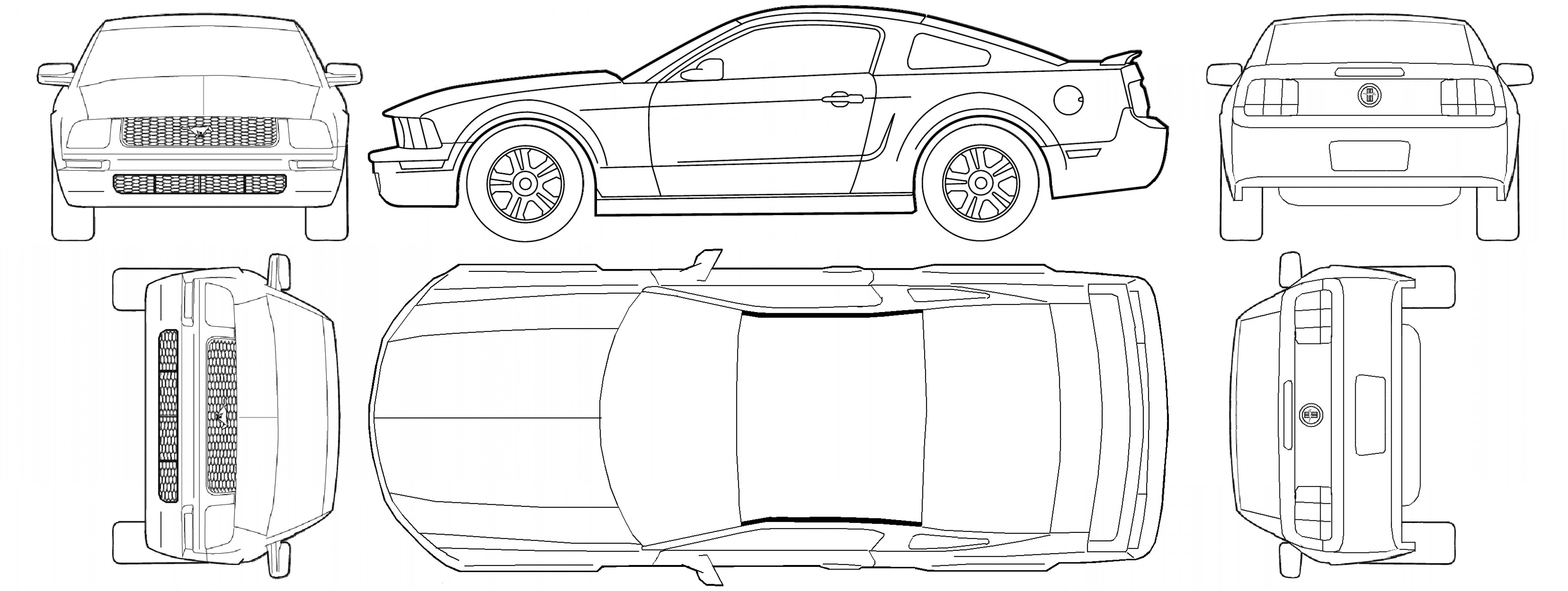 Ford Mustang Gt Drawing Vector