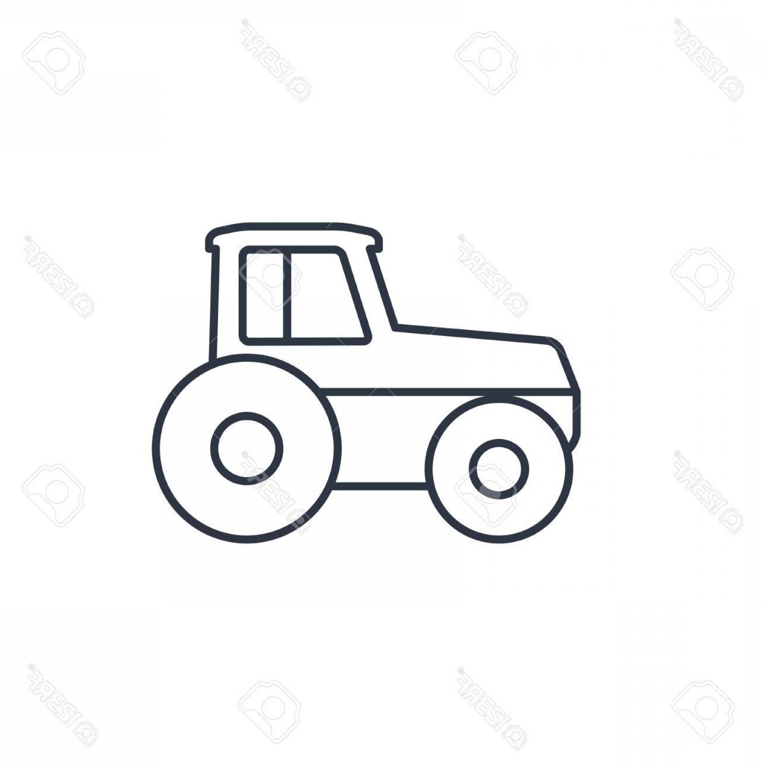 Tractor Vector Outline Black