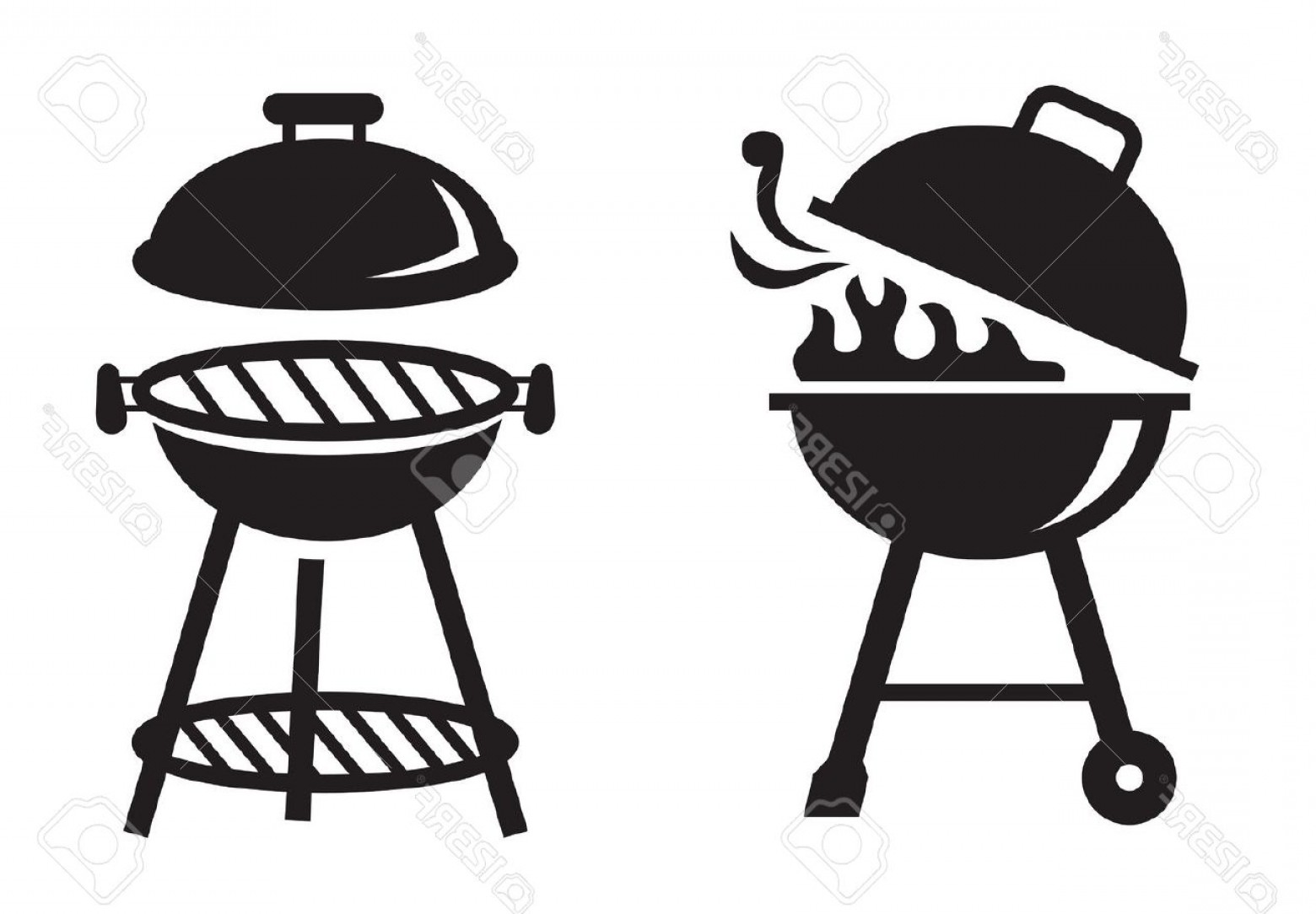 Bbq Grill Vector Black And White