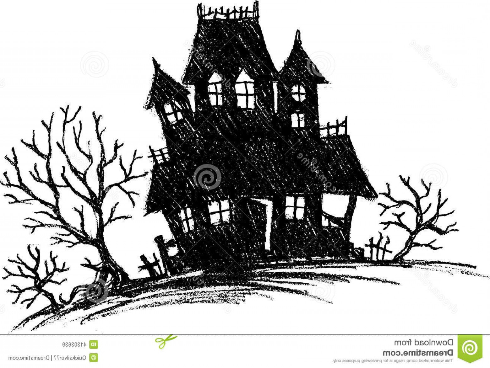 Stock Illustration Haunted House Sketch Hand Drawn Spooky