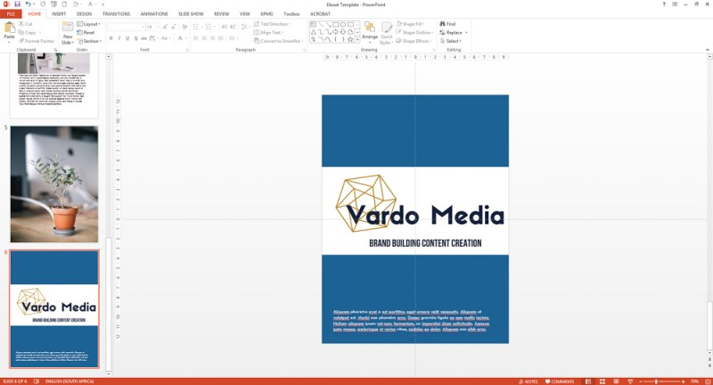 Add final text like copyright and disclaimers to your Powerpoint ebook