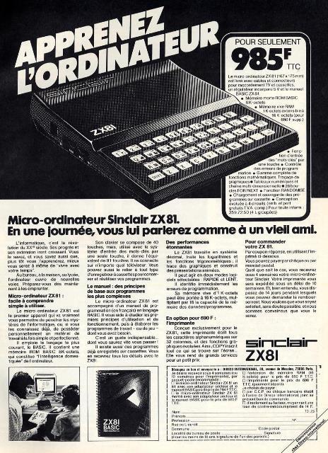 Publicité pour le Sinclair