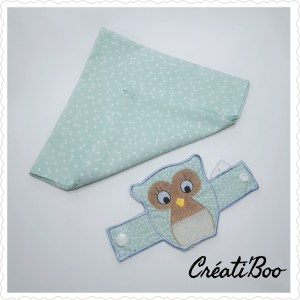 Serviette de table et rond de serviette Hibou