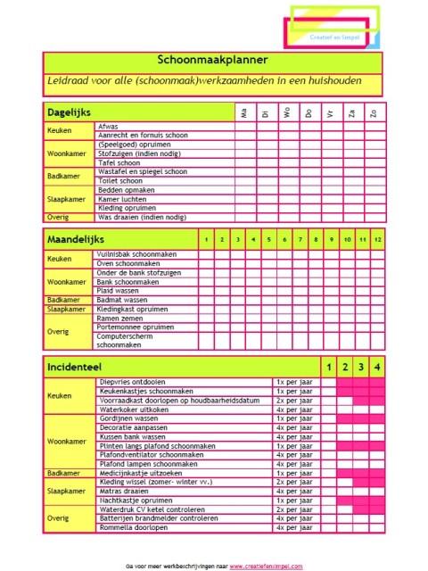 Schoonmaakplanner - Creatief en Simpel - Download gratis op onze site