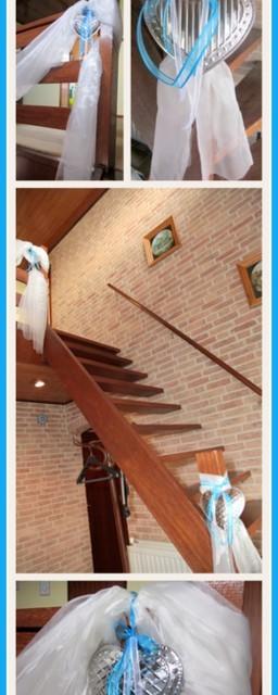 Versiering van de trap met organza en hartjes - Creatief en Simpel - Ga naar onze site voor meer ideeen