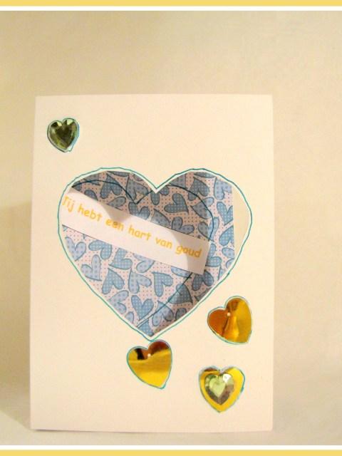 Hartjeskaart Goud hart, snel en simpel te maken voor moederdag - Creatief en Simpel - ga naar onze site voor de werkbeschrijving en meer leuke ideeen