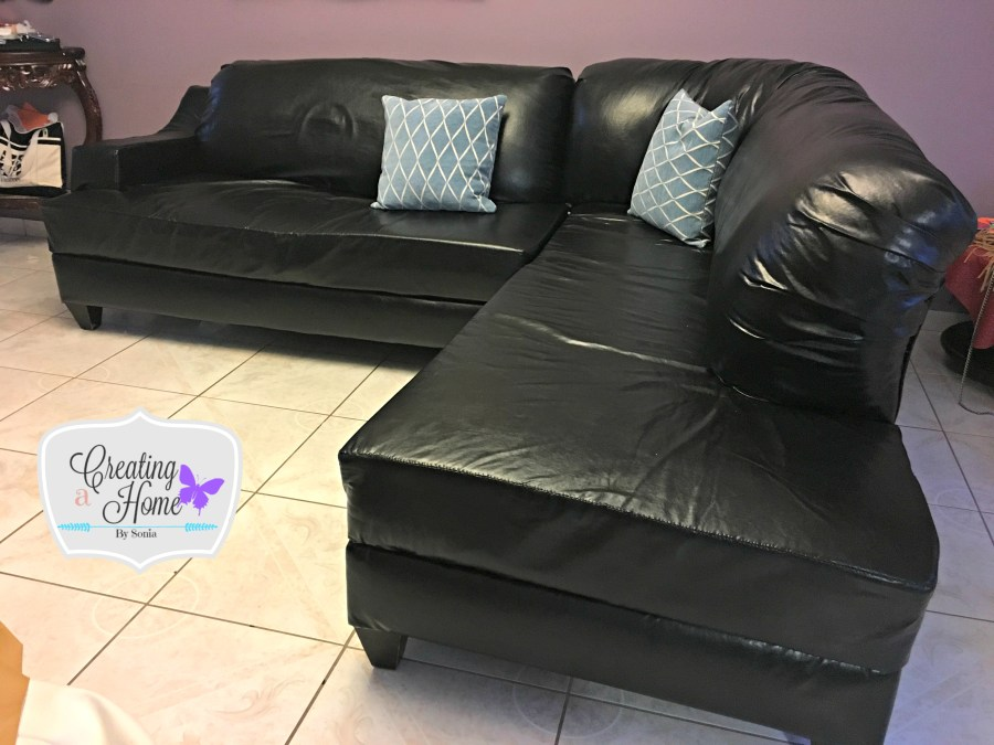 Faux Leather For An Old Sectional, How To Reupholster A Leather Sofa Chair